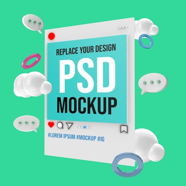 Mockup del post sui social media di instagram Psd Premium