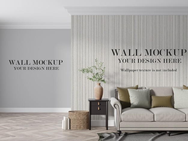 Mockup della parete del salotto moderno con mobili Psd Premium
