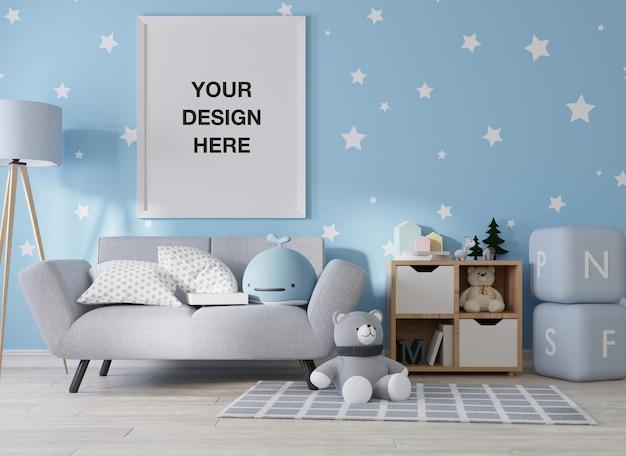 Fotogramma poster mockup nel rendering camera bambini Psd Premium