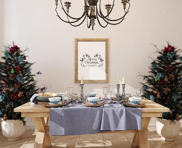 Mockup poster frame con decorazioni natalizie e albero di natale Psd Premium