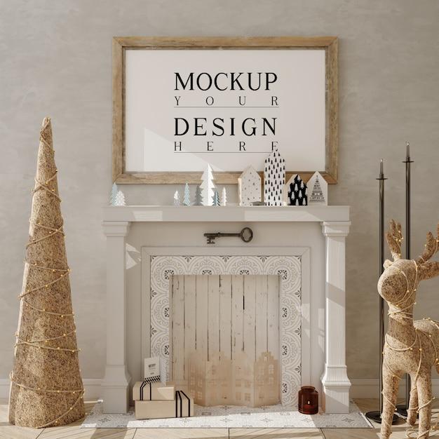 Mockup poster frame con albero di natale e decorazioni Psd Premium