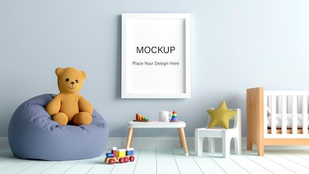 Mockup poster frame con simpatico orsacchiotto per un rendering 3d di baby shower ragazzo Psd Premium