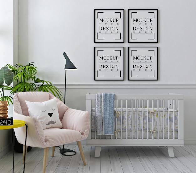 Cornici per poster mockup nella stanza della scuola materna bianca con poltrona rosa Psd Premium