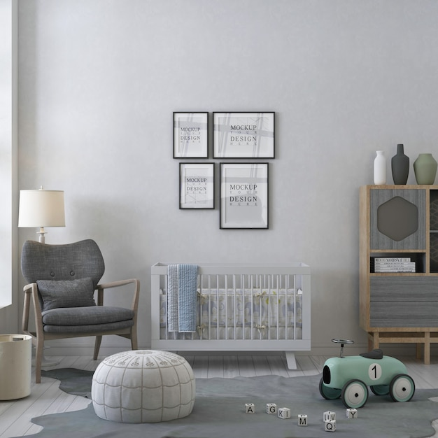 Cornici di poster mockup nella stanza della scuola materna bianca Psd Premium