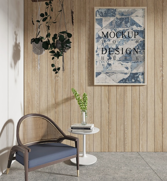 Mockup poster in soggiorno con poltrona e pianta sospesa Psd Premium