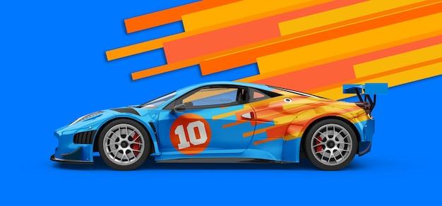 Mockup di un'auto sportiva blu di lusso potente Psd Premium