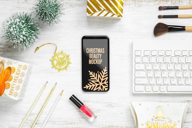 Smartphone mockup per la decorazione di natale e capodanno Psd Premium