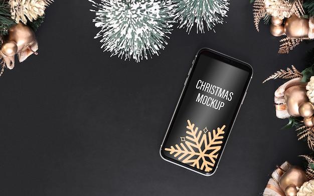Smartphone mockup per natale e capodanno Psd Premium