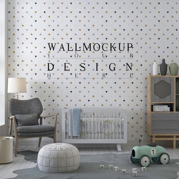 Mockup muro nella moderna stanza della scuola materna Psd Premium