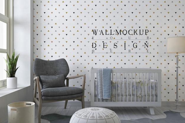 Mockup muro nella moderna stanza della scuola materna bianca Psd Premium