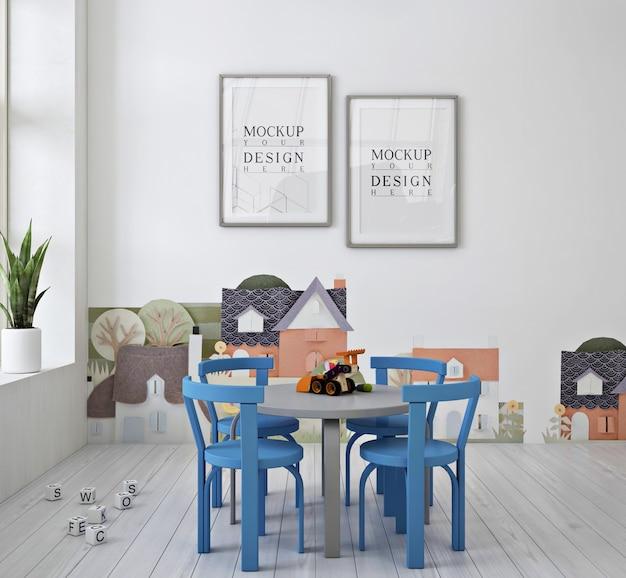 Asilo nido moderno e carino con mockup di poster con cornice e sedia blu Psd Premium