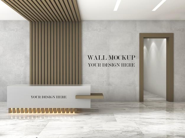 Mockup di parete reception ufficio design moderno Psd Premium