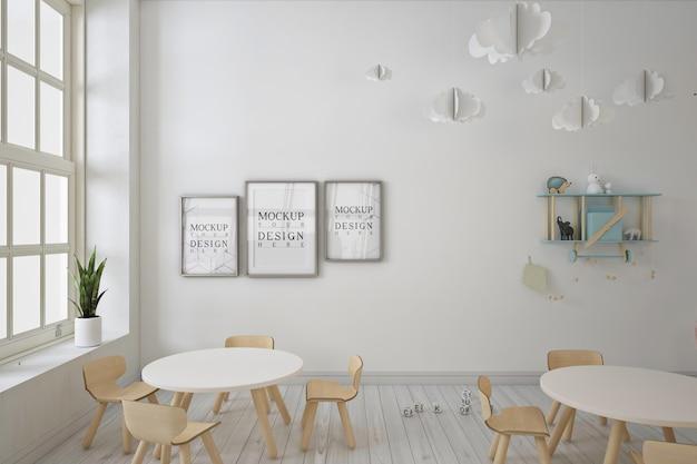 Asilo nido moderno con mockup di fotogrammi di poster Psd Premium