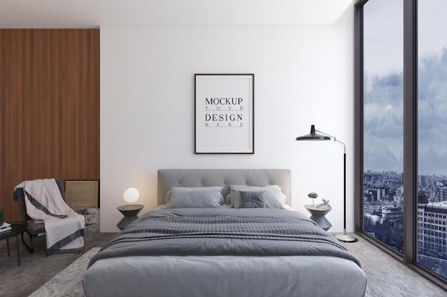 Design moderno della camera da letto di lusso con poster di design mockup Psd Premium