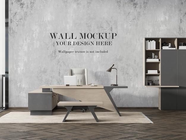 Design moderno del mockup della parete della stanza del manager Psd Premium