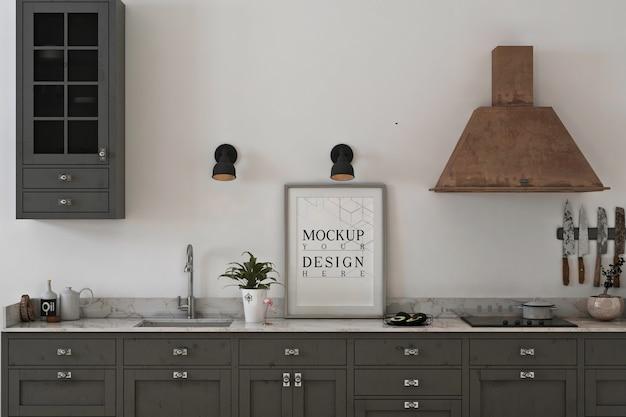 Cucina monocromatica con mockup di foto cornice Psd Premium