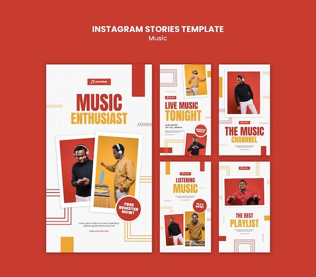 Modello di storie di instagram di concetto di musica Psd Premium