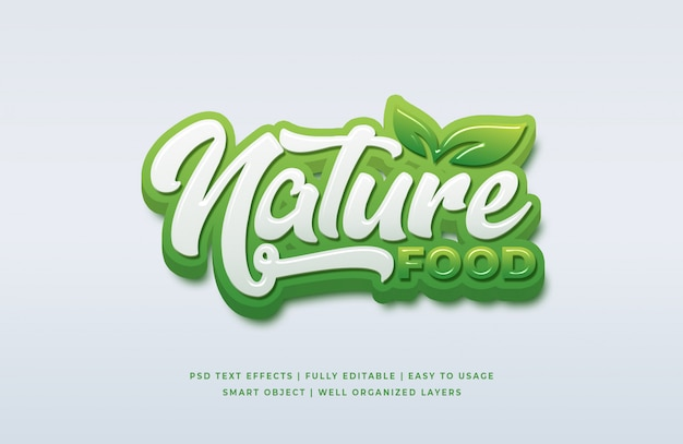 Stile di testo 3d cibo naturale Psd Premium