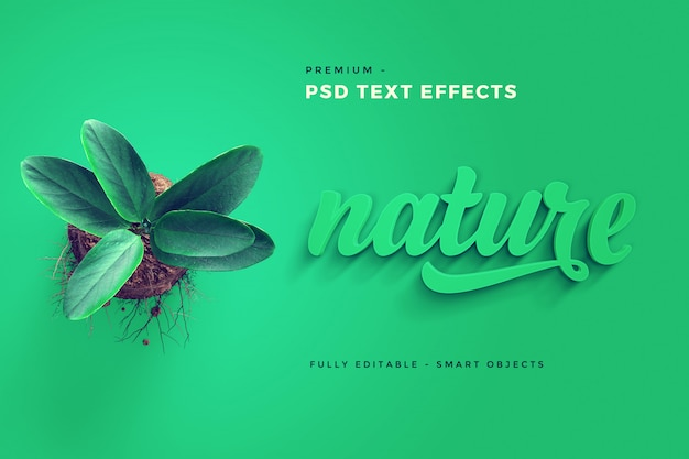 Nature text effect mockup Psd Premium