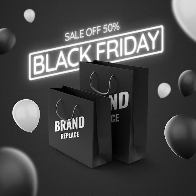Mockup del black friday pubblicitario al neon Psd Premium