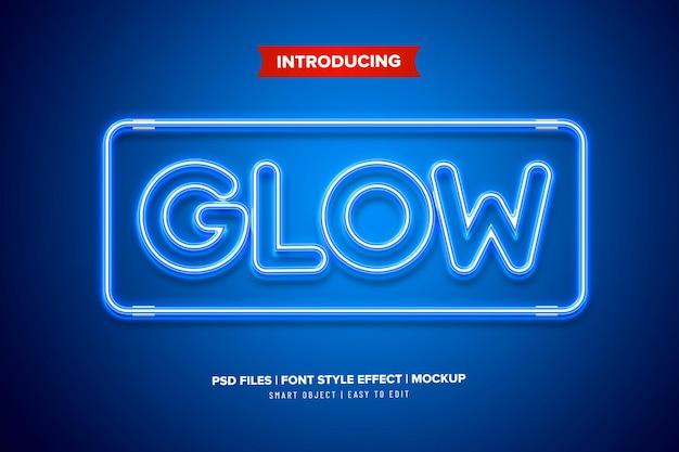 Modello di effetto testo bagliore al neon Psd Premium