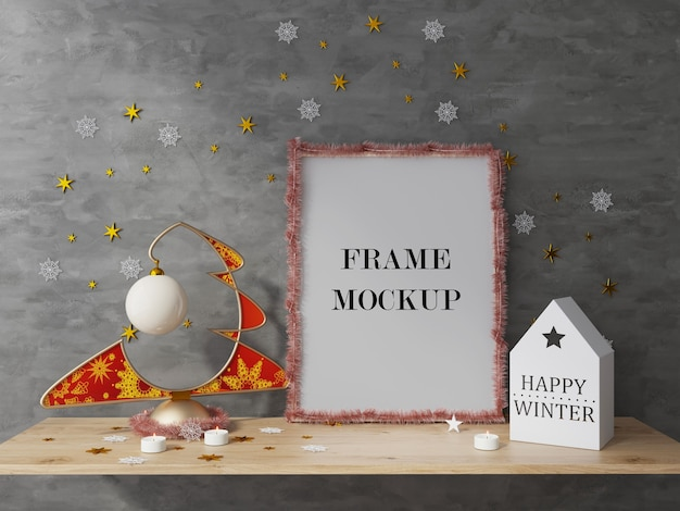 Mockup di rendering 3d cornice per foto di vacanze di natale e capodanno Psd Premium