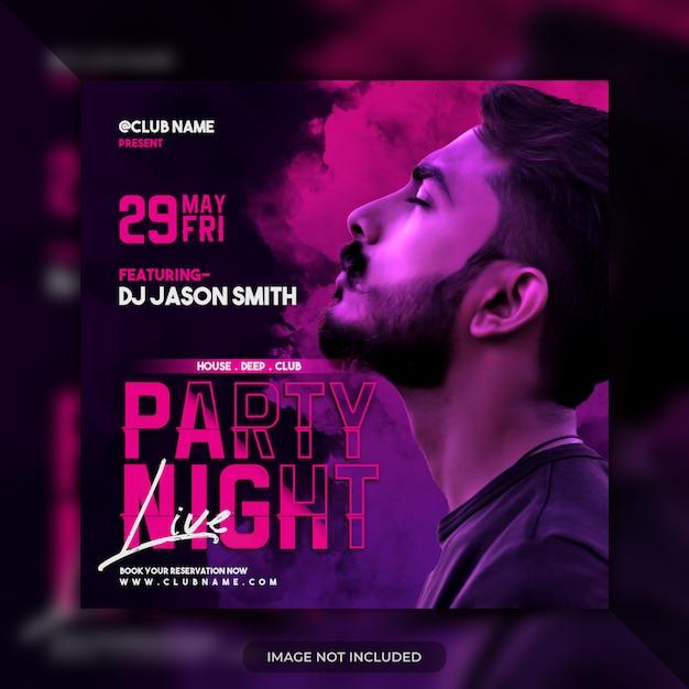 Manifesto di media sociali del modello dell'aletta di filatoio del partito di notte Psd Premium