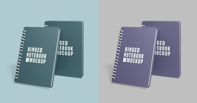 Notebook set mockup Psd Premium