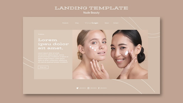 Modello di pagina di destinazione bellezza nuda Psd Premium