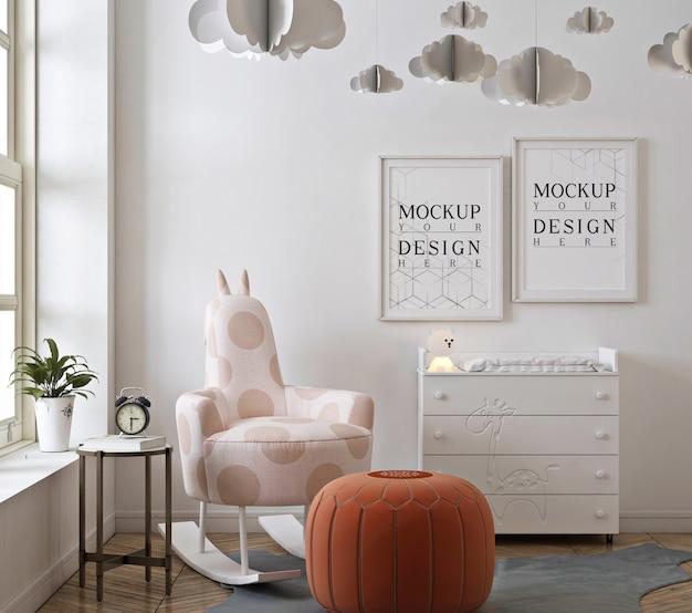 Camera da letto della scuola materna con cornice per poster mockup Psd Premium