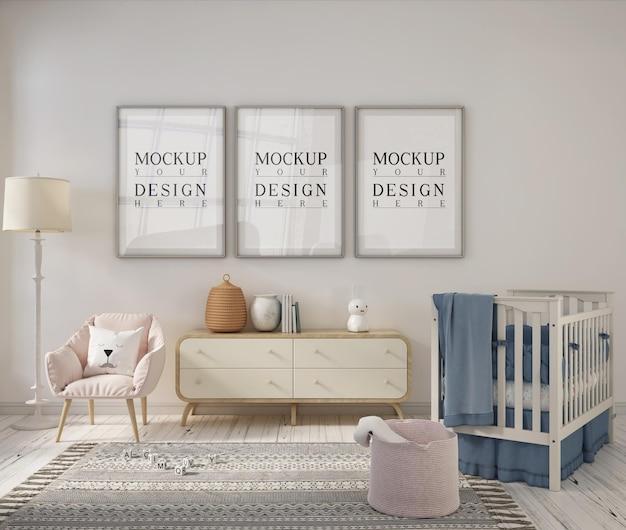 Stanza della scuola materna con cornice per poster design mockup Psd Premium