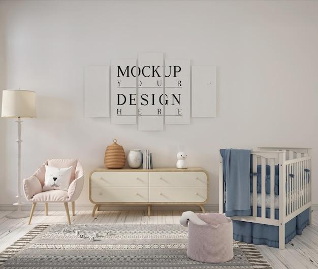 Stanza della scuola materna con poster di design mockup Psd Premium