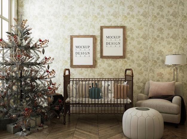 Stanza della scuola materna con cornice per poster mockup e albero di natale Psd Premium