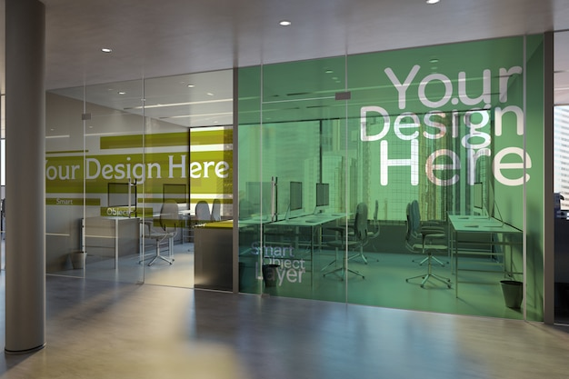 Office glass mock up Psd Premium
