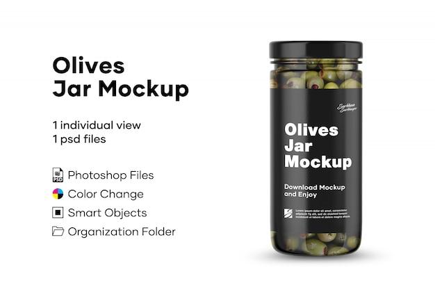 Mockup di vaso di olive Psd Premium