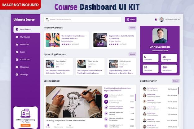 Kit di interfaccia utente del dashboard del corso online Psd Premium