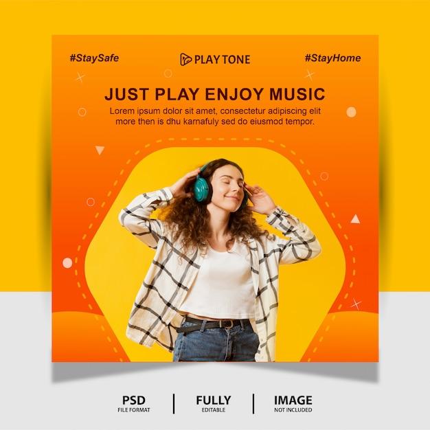 Colore arancione goditi la musica social media post banner Psd Premium