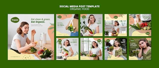Modello di post sui social media di alimenti biologici Psd Premium
