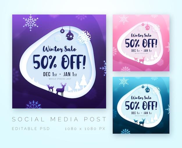 Carta tagliata inverno vendita di natale per modello di social media Psd Premium