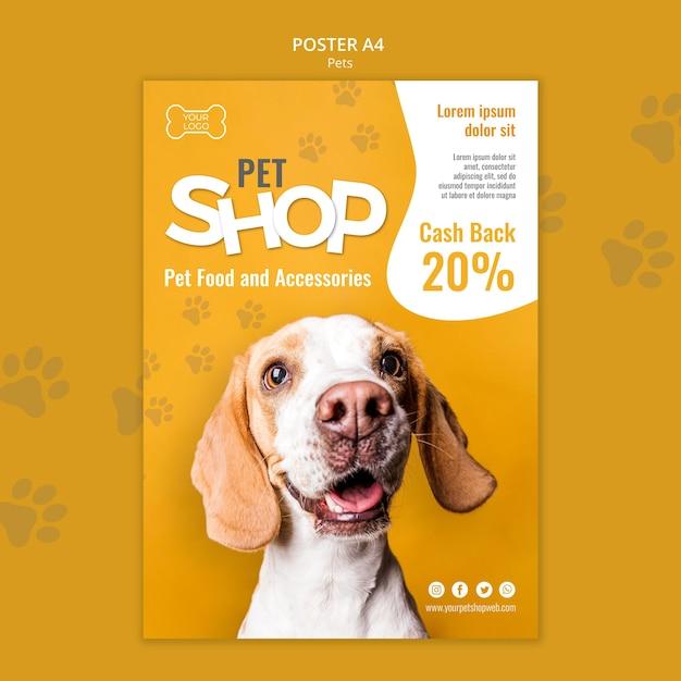 Modello di poster del negozio di animali con foto Psd Premium