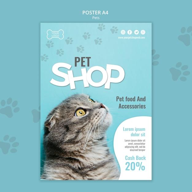 Modello di poster del negozio di animali Psd Premium