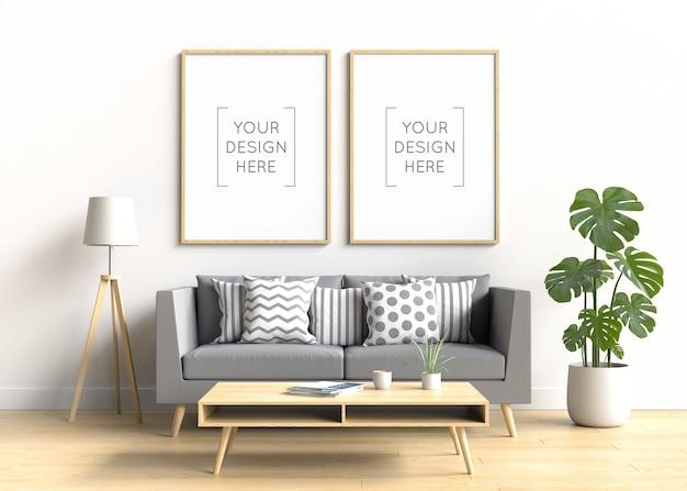 Mockup di cornice per foto nell'interno del soggiorno Psd Premium