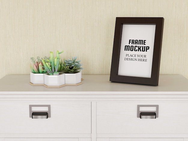 Photo frame mockup sulla mini desk Psd Premium