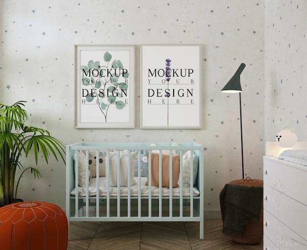Mockup di cornici per foto nella moderna stanza del bambino con sbuffo Psd Premium