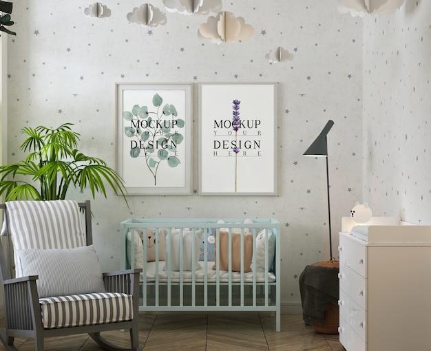 Mockup di cornici per foto nella moderna stanza del bambino Psd Premium
