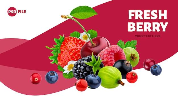 Mucchio di diversi frutti di bosco banner Psd Premium