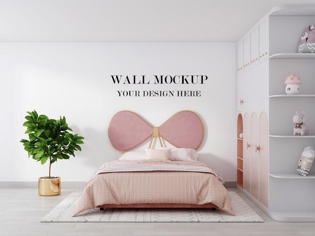 Il mockup 3d della parete della camera da letto delle ragazze rosa rende Psd Premium