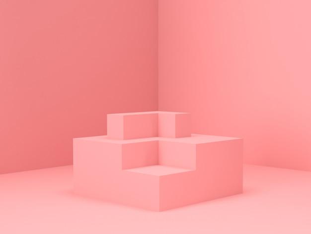 Supporto pastello rosa del prodotto su fondo. concetto di geometria minima astratta. rendering 3d Psd Premium