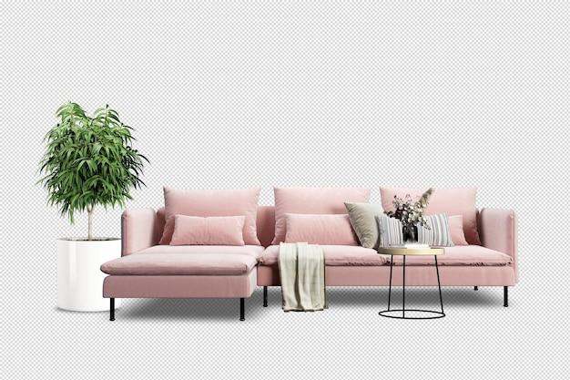 Divano rosa e pianta nella rappresentazione 3d Psd Premium