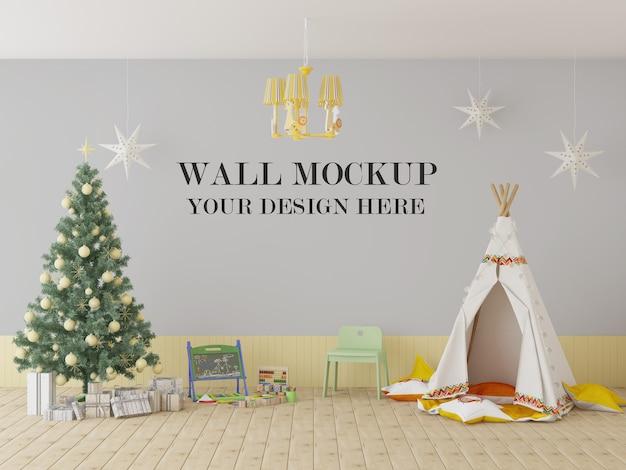 Mockup da parete per scuola materna per natale e capodanno Psd Premium